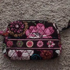 Mod floral pink small cosmetic case make up bag
